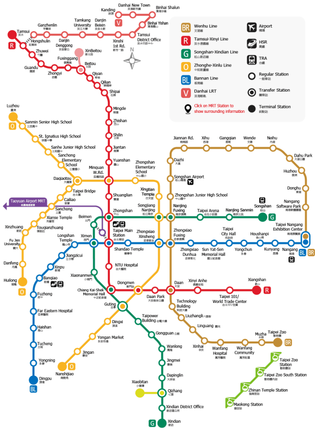 The map of Taipei Metro