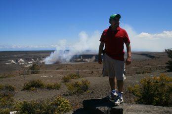 Juan-Mario Pérez at Halema'uma'u fire pit, Kilauea volcano, Hawai'i Island.