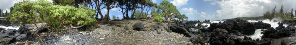 Oct. 2000, Panorama shot at Keanae, Maui, in 16 steps and stitched using software. By Blaine Fergerstrom, webmaster@starbulletin.com as part of a Hana Highway video assignment.