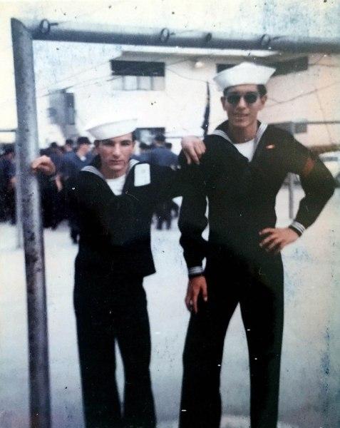 Reynaldo De Luna, Blaine Fergerstrom, boot camp graduates, 1972.