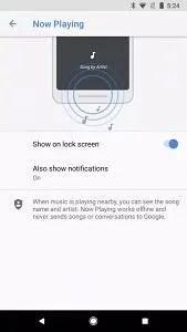 Google Pixel 2 Now Playing AmbientSense