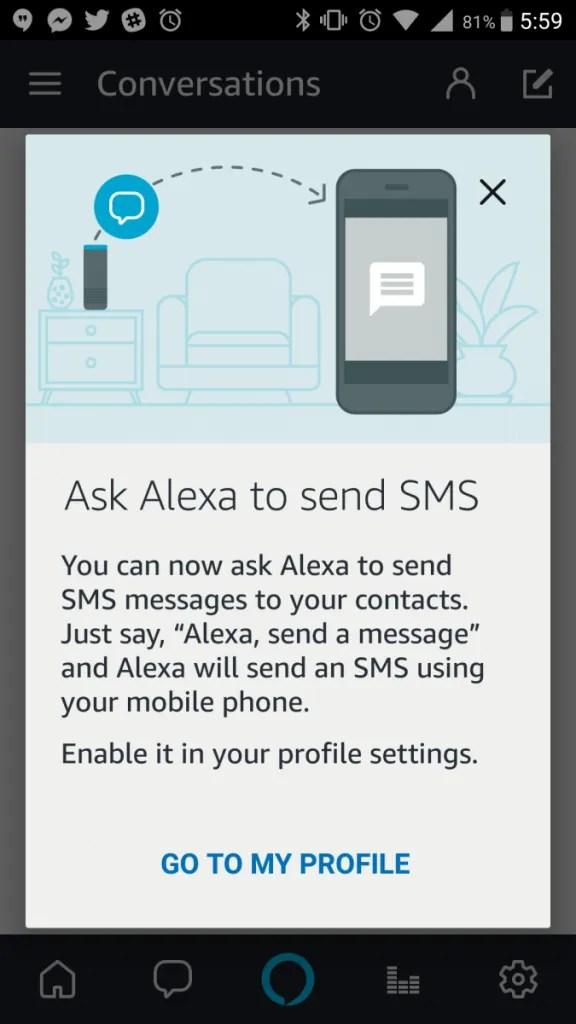 SMS Alexa messages