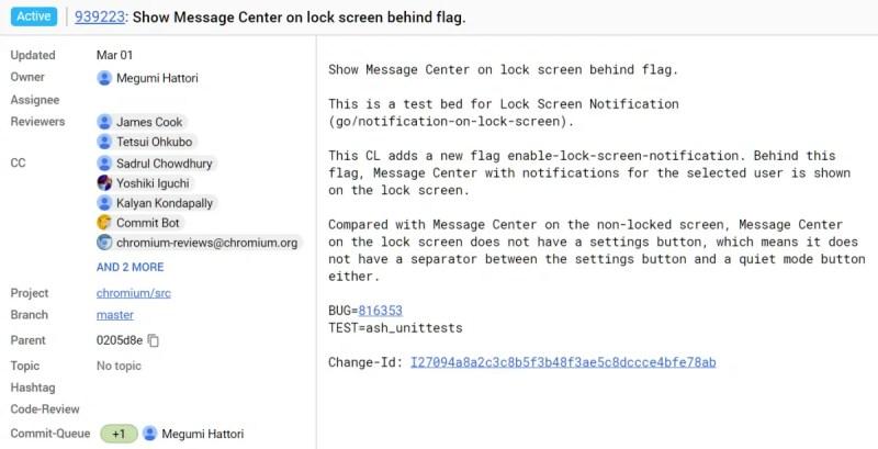Chrome OS Lock Screen Notification