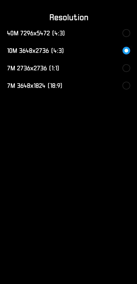 Huawei P20 Pro Camera App Photo Resolution Settings