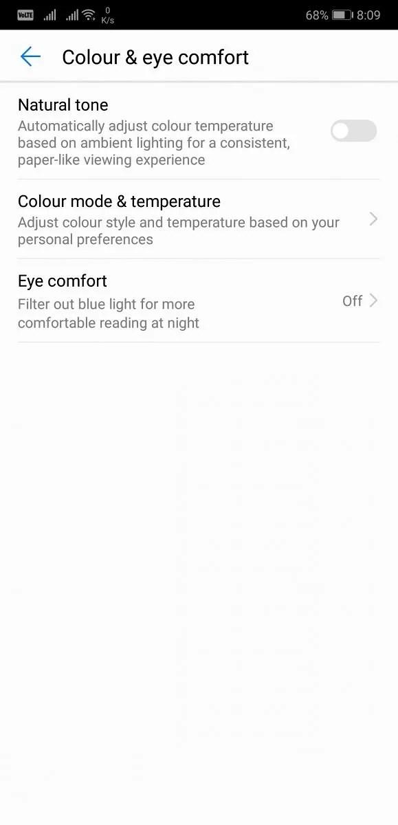 Huawei P20 Pro Display Color Settings