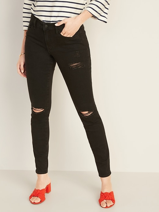 Image number 1 showing, Mid-Rise Distressed Pop Icon Skinny Jeans for Women