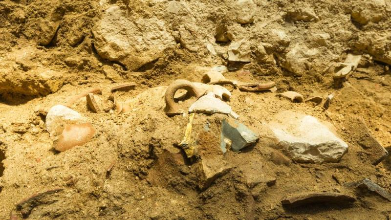 Remains of the tools shattered in the earthquake.  Photo: Eliyahu Yanai, City of David
