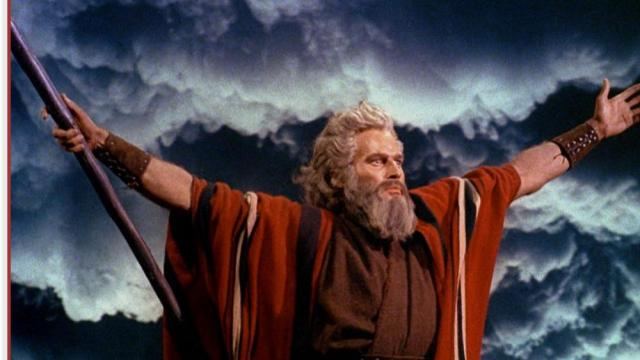 """Screenshot of Charlton Heston as Moses from the trailer for Cecil B. DeMille's 1956 epic """"The Ten Commandments."""" (Image credit: Paramount/Wikipedia)"""