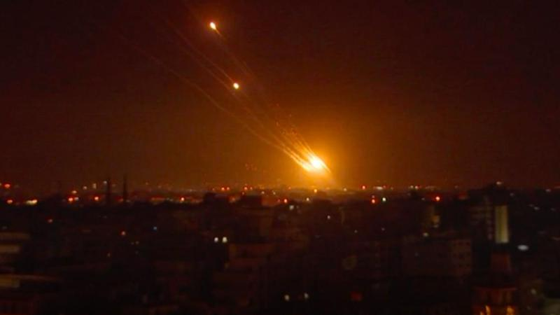 Rockets headed toward Israel from Gaza (Screenshot via AP)