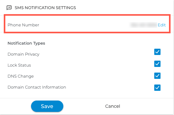 Screenshot of SMS text settings for Domain Privacy + Protection alerts.