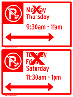 Alternate Side Parking regulation sign with an X over Monday, only Thursday is visible. A second Alternate Side Parking regulation sign with three days listed. A large X is covering Tuesday and Friday, only Saturday is visible.