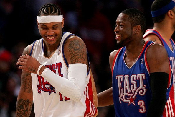 2008 NBA All-Star Game. In This Photo: Dwyane Wade, Carmelo Anthony. Carmelo