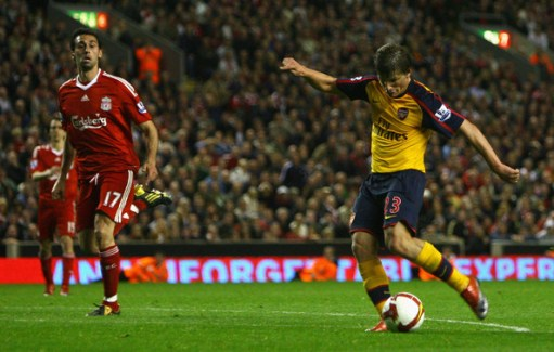Andrey Arshavin of Arsenal scores his team's fourth goal during the Barclays Premier League match between Liverpool and Arsenal at Anfield on April 21, 2009 in Liverpool, England.  (Photo by Alex Livesey/Getty Images) *** Local Caption *** Andrey Arshavin