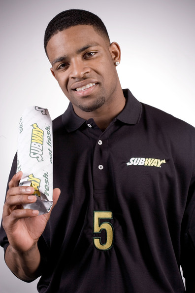 Football player Michael Crabtree poses for a portrait on April 21, 2009 in New York City.  (Photo by Chris McGrath/Getty Images for Subway) *** Local Caption *** Michael Crabtree