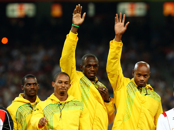 The olympic gold medal 4x 100m relay team from Jamaica.