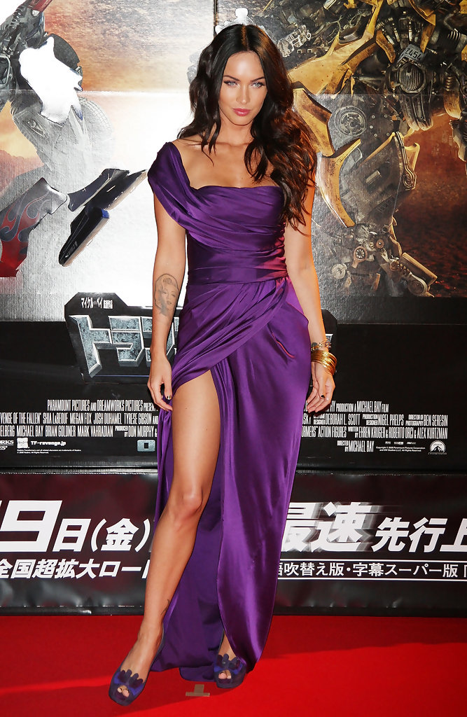 Megan Fox in a jewel-tone Donna Karan gown