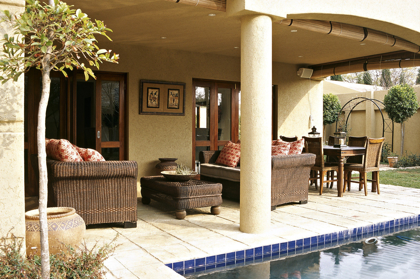 Contemporary Mediterranean Patio - Outdoor Patio Design ... on Modern Backyard Patio Ideas  id=97791