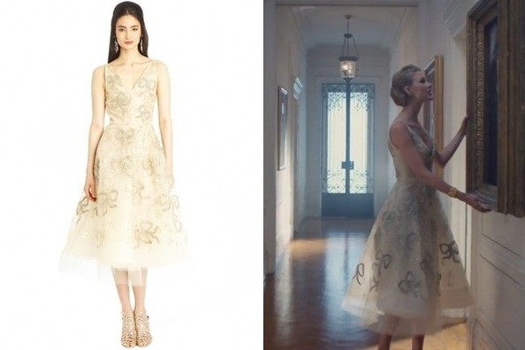 Oscar de la Renta Cream Tulle Dress with Bow Appliqué