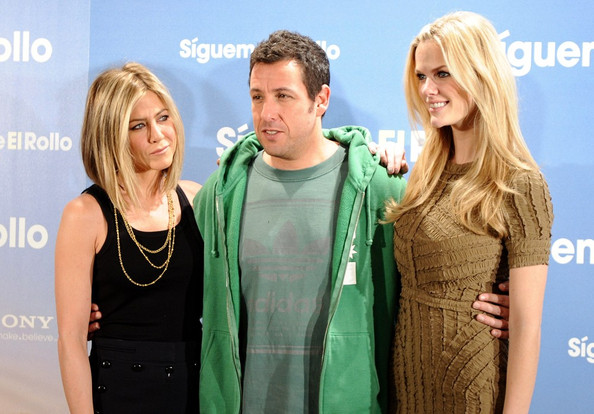 """Adam Sandler Jennifer Aniston, Adam Sandler, and Brooklyn Decker attend a photocall for """"Just Go with It"""" at the Villamagna Hotel."""