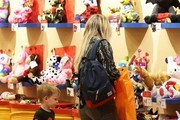 Singer and actress Hilary Duff takes her son Luca to a Build-A-Bear Workshop at the mall in Los Angeles, California on January 23, 2015. The busy mother of one is currently splitting her time between Los Angeles and New York, where she has been filming the upcoming TV series, 'Younger.'