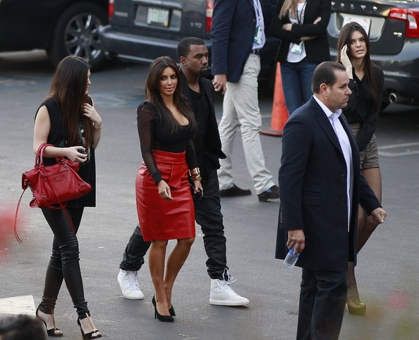 Kanye West 'Keeping Up With The Kardashians' stars Kim Kardashian, Kendal Jenner, and Kylie Jenner arrive at an 'X-Factor' taping with rapper Kanye West in Los Angeles, CA on November 21, 2012.