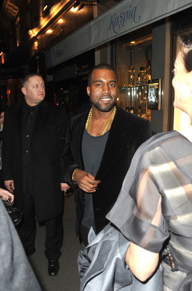Exclusive... Kanye West out for dinner at Caviar Kaspia in Paris, France on February 28, 2012.