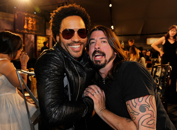 Dave Grohl Musicians Lenny Kravitz and Dave Grohl in the audience at the
