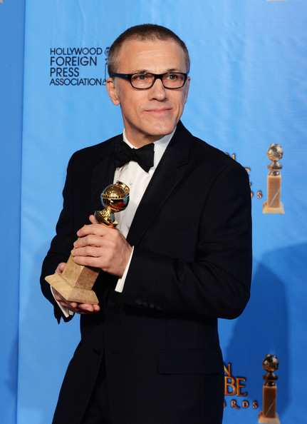 Actor Christoph Waltz poses with Best Supporting Actor in a Motion Picture Award in the press room during the 70th Annual Golden Globe Awards held at The Beverly Hilton Hotel on January 13, 2013 in Beverly Hills, California.