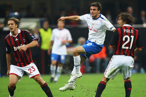 Andrea Pirlo and Milan Gajic - AC Milan v FC Zurich - UEFA Champions League