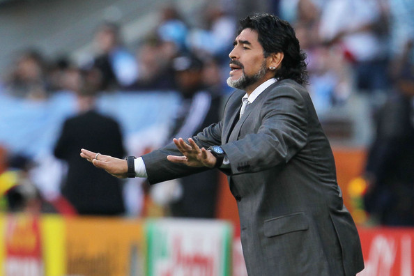 Diego Maradona Diego Maradona head coach of Argentina gestures from the touchline during the 2010 FIFA World Cup South Africa Quarter Final match between Argentina and Germany at Green Point Stadium on July 3, 2010 in Cape Town, South Africa.