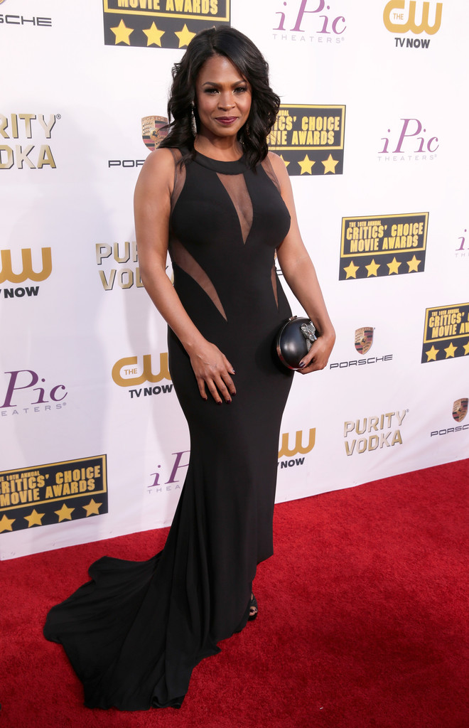 nia long in cut out sheer dress