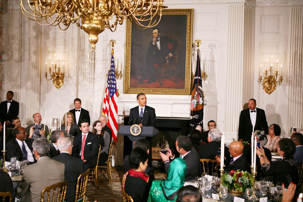 Barack Obama U.S. President Barack Obama hosts an Iftar dinner in celebration of the Islamic holy month of Ramadan in the State Dining Room of the White House August 13, 2010 in Washington, DC. During the dinner Obama spoke in support of the controversial construction of a mosque near the World Trade Center site in lower Manhattan.