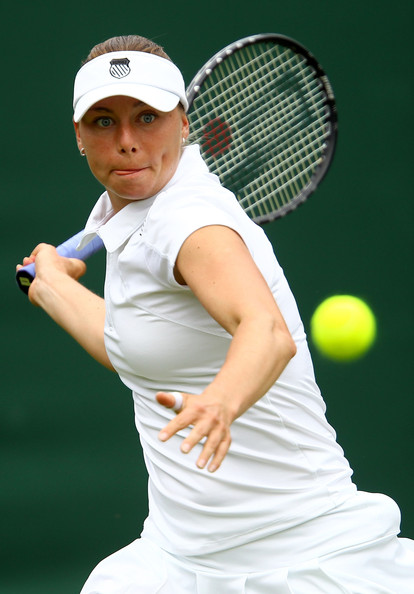 Vera Zvonareva Vera Zvonareva of Russia in action during her first round match against Nuria Llagostera Vives of Spain on Day One of the Wimbledon Lawn Tennis Championships at the All England Lawn Tennis and Croquet Club on June 21, 2010 in London, England.