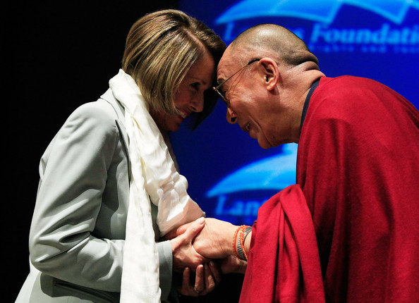 Nancy Pelosi The Dalai Lama (R) presents House Speaker Nancy Pelosi (D ...