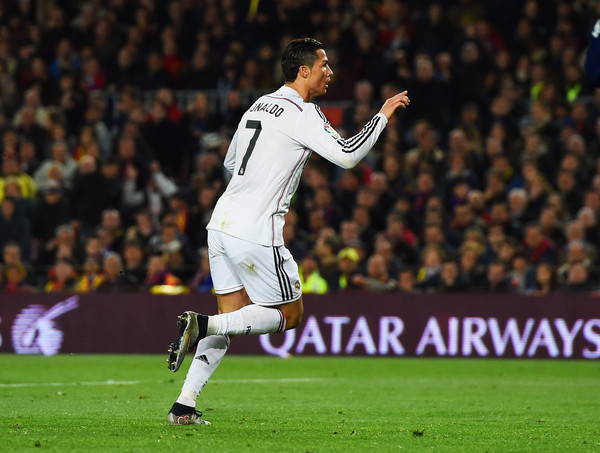 Cristiano Ronaldo of Real Madrid CF celebrates as he scores their first and equalising goal during the La Liga match between FC Barcelona and Real Madrid CF at Camp Nou on March 22, 2015 in Barcelona, Spain.