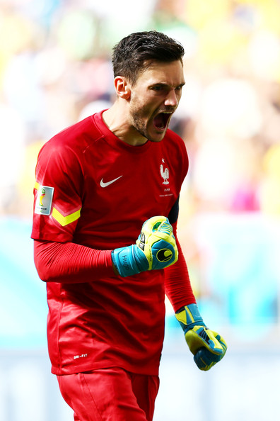 Goalkeeper Hugo Lloris of France celebrates after his team's first goal during the 2014 FIFA World Cup Brazil Round of 16 match between France and Nigeria at Estadio Nacional on June 30, 2014 in Brasilia, Brazil.