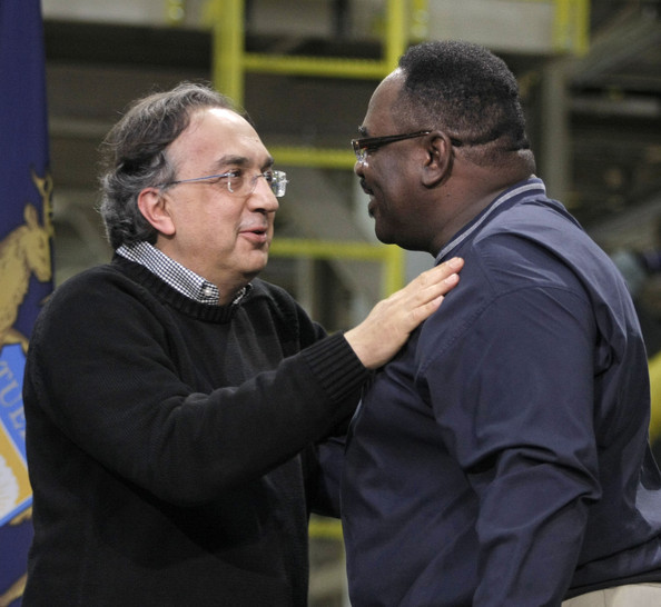 General Holiefield and Sergio Marchionne - Chrysler CEO, Michigan Political Leaders Visit Assembly Plant In Detroit