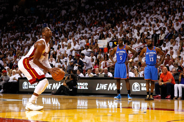 Kendrick Perkins Dwyane Wade #3 of the Miami Heat gets set to attempt a technical free throw attempt in the first half against Kendrick Perkins #5 and James Harden #13 of the Oklahoma City Thunder in Game Three of the 2012 NBA Finals on June 17, 2012 at American Airlines Arena in Miami, Florida.  NOTE TO USER: User expressly acknowledges and agrees that, by downloading and or using this photograph, User is consenting to the terms and conditions of the Getty Images License Agreement.