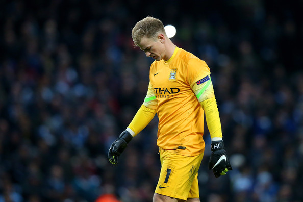 Dejectedgoalkeeper Joe Hart of Manchester City looks on after conceding two first half goals during the UEFA Champions League Group E match between Manchester City and FC Bayern Muenchen at the Etihad Stadium on November 25, 2014 in Manchester, United Kingdom.