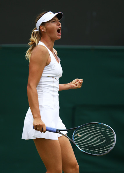Maria Sharapova Maria Sharapova of Russia celebrates match point after winning her third round match against Klara Zakopalova of the Czech Republic  on Day Six of the Wimbledon Lawn Tennis Championships at the All England Lawn Tennis and Croquet Club on June 25, 2011 in London, England.