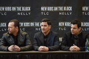 (L-R) Donnie Wahlberg, Jonathan Knight and Jordan Knight attend the New Kids On The Block Press Conference at Madison Square Garden on January 20, 2015 in New York City.