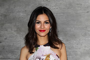Actress Victoria Justice poses backstage at the Rebecca Minkoff fashion show with TRESemme during Mercedes-Benz Fashion Week Fall 2015 at The Pavilion at Lincoln Center on February 13, 2015 in New York City.