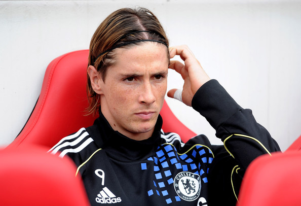 sulking torres on chelsea bench