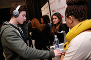 Singer Shawn Mendes (L) attends the Z100's Artist Gift Lounge presented by Goldfish Puffs at Z100's Jingle Ball 2014 at Madison Square Garden on December 12, 2014 in New York City.