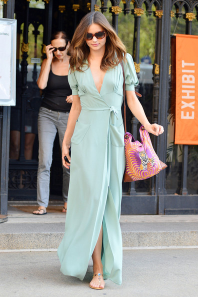 Miranda Kerr - Fit model Miranda Kerr shows off her figure in a flattering pastel dress following a photo-shoot in New York City
