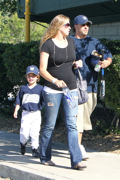 Victoria Prince Kevin Federline and a pregnant Victoria Prince arrive at the baseball fields ahead of Sean Preston's little league game.