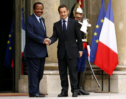 Image result for french president with biya