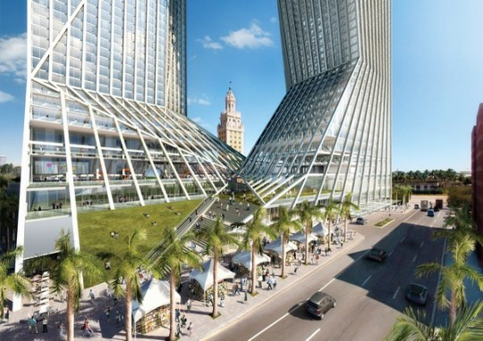 The proposed LEED® certified structure is conceived of as a portal comprised of a base and a top supported by two towers that allow large exterior public spaces at ground and in sky.