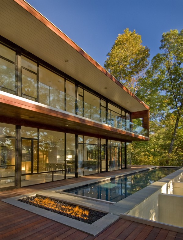 Rear Facade/Lap Pool with Fire Pit and Fully Glazed Southern Wall Maxwell  MacKenzie