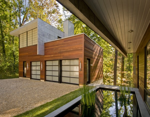 Garage with Office Space Above and Reflecting Pool at Entry ©Maxwell MacKenzie